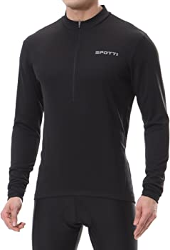 Spotti Men's Cycling Bike Jersey Long Sleeve with 3 Rear Pockets