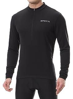 d2b410276 Spotti Men s Cycling Bike Jersey Long Sleeve with 3 Rear Pockets - Moisture  Wicking