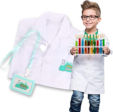 Lab Coat for Kids Scientist Costume with Goggle and Personalized ID Card for Science Projects and Experiments, Age 5 - 12
