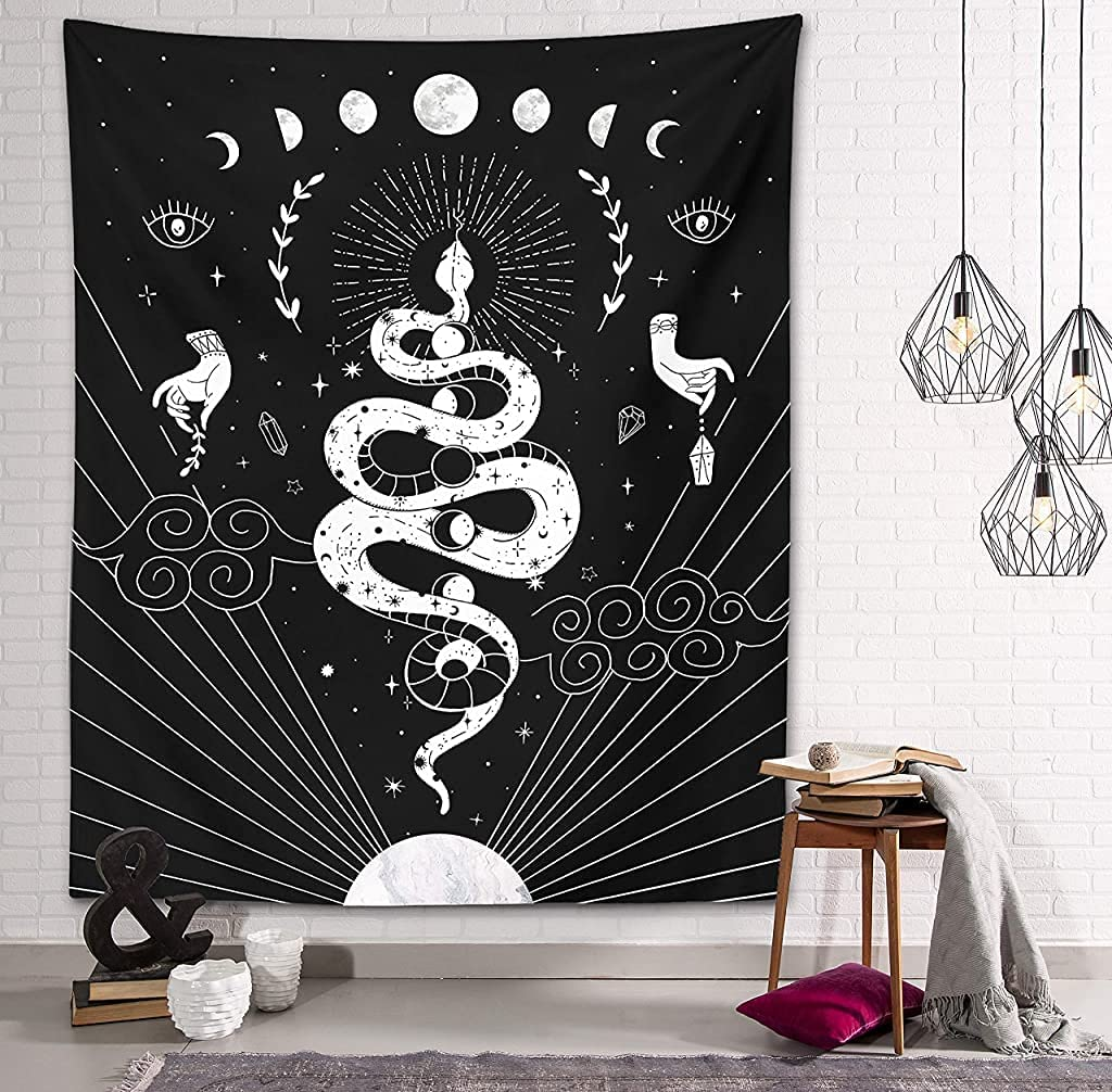 Gothic Snake Tapestry Witch Magic Mystic Moon and Stars Spells Witchcraft Kit Black and White Wall Hanging Goth Wall Art Decor (Gothic Snake Tapestry, 59