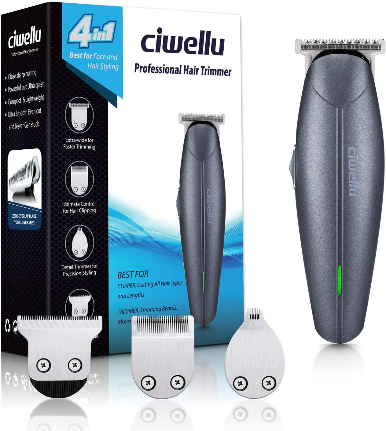 Cortapelos inalámbrico para barba Ciwellu 4 en 1, kit de cuidado corporal para hombre recargable, recortador de bigote con 7 ajustes de longitud, peines alimentados por litio: Amazon.es: Salud y cuidado personal