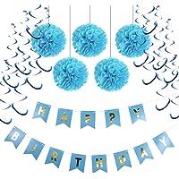 Birthday Party Decorations Tissue Paper Pom Pom Ball Hanging Spiral Decor Happy BIRTHDAY Banner Kit White/Black/Blue/Pink