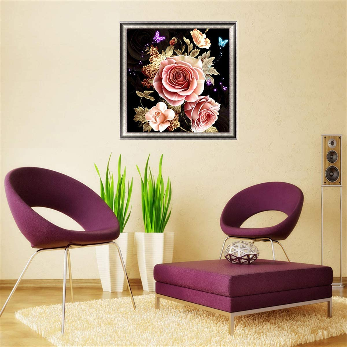 DIY Full Drill Flower Cross Stitch Embroidery Rhinestone Picture Craft Arts for Home Wall Decor 12x12inch 5D Diamond Painting Kits