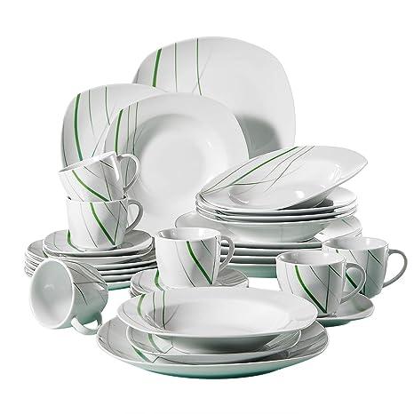 VEWEET 30 Piece Ceramic Dinnerware Set Ivory White Plate Sets Green Stripe Patterns Kitchen Plates Service For 6 Dinner Plate Salad Plate Aviva