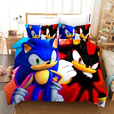 Y&C 3D Sonic The Hedgehog Duvet Cover Set for Boys Soft 3 Piece(1 Duvet Cover 2 Pillowcases) Bedding Set Twin: Home & Kitchen