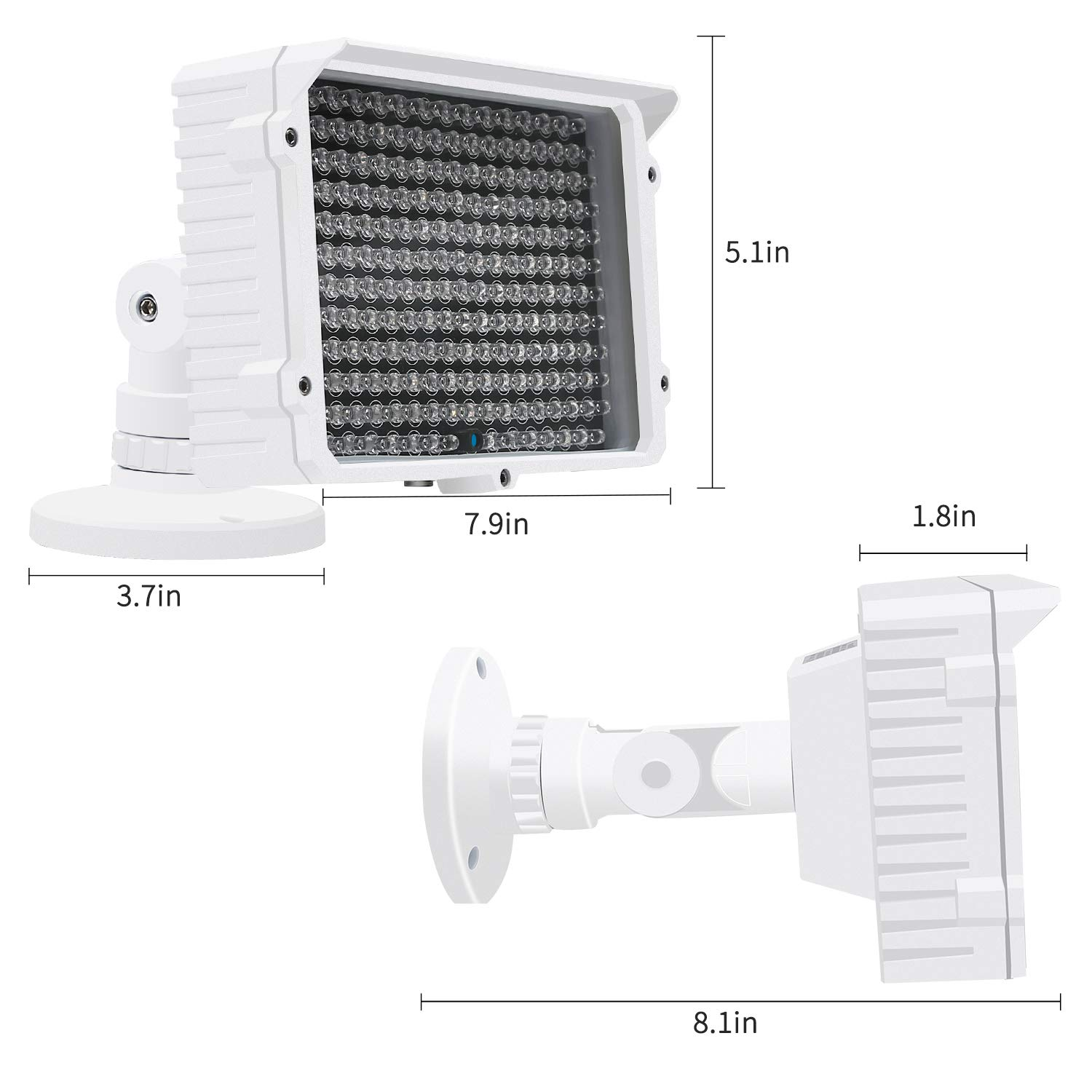 CMVision IR130-830NM - 198 LED Indoor/Outdoor Long Range 150 feet IR Illuminator with Free 3A 12VDC Power Adaptor (Special for photobiomodulation, Light Therapy Application) by CMVision (Image #4)