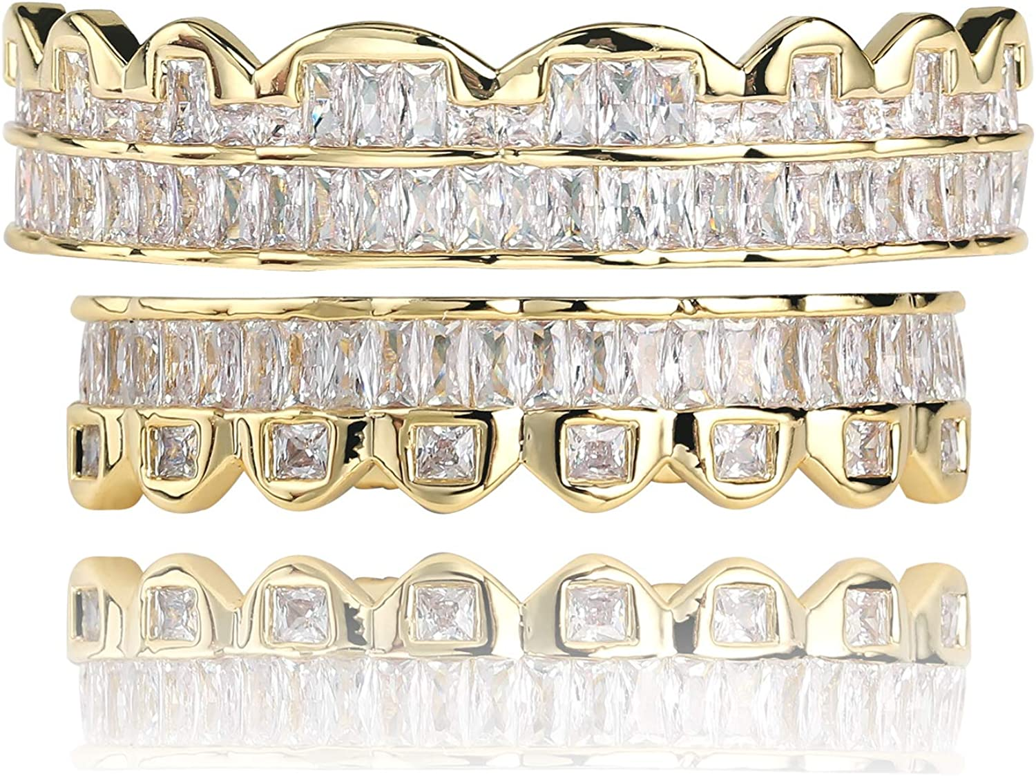 TOPGRILLZ 14K Gold Plated Custom Baguette Iced Out Top and Bottom Grills for Your Teeth Hip Hop Men