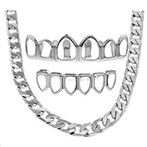 Open Face Top & Bottom Grillz Silver Plated + $50 Luxury Curb Chain