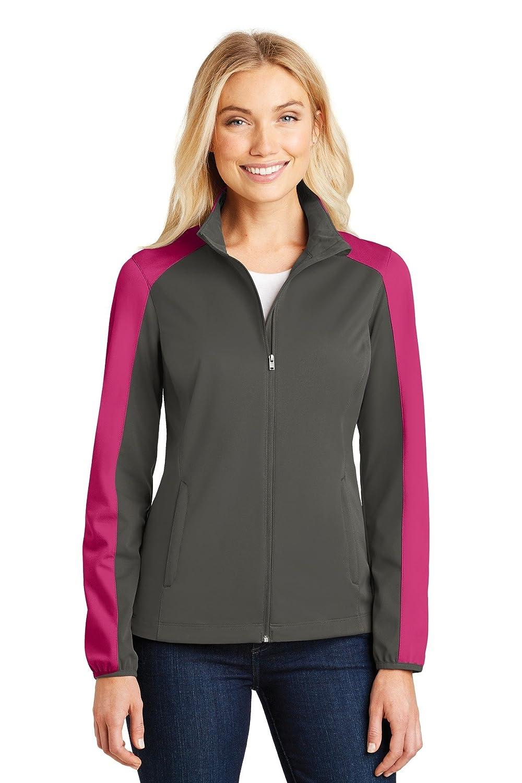 Grey Steel  Pink Azalea Port Authority Ladies Active colorblock Soft Shell Jacket. L718