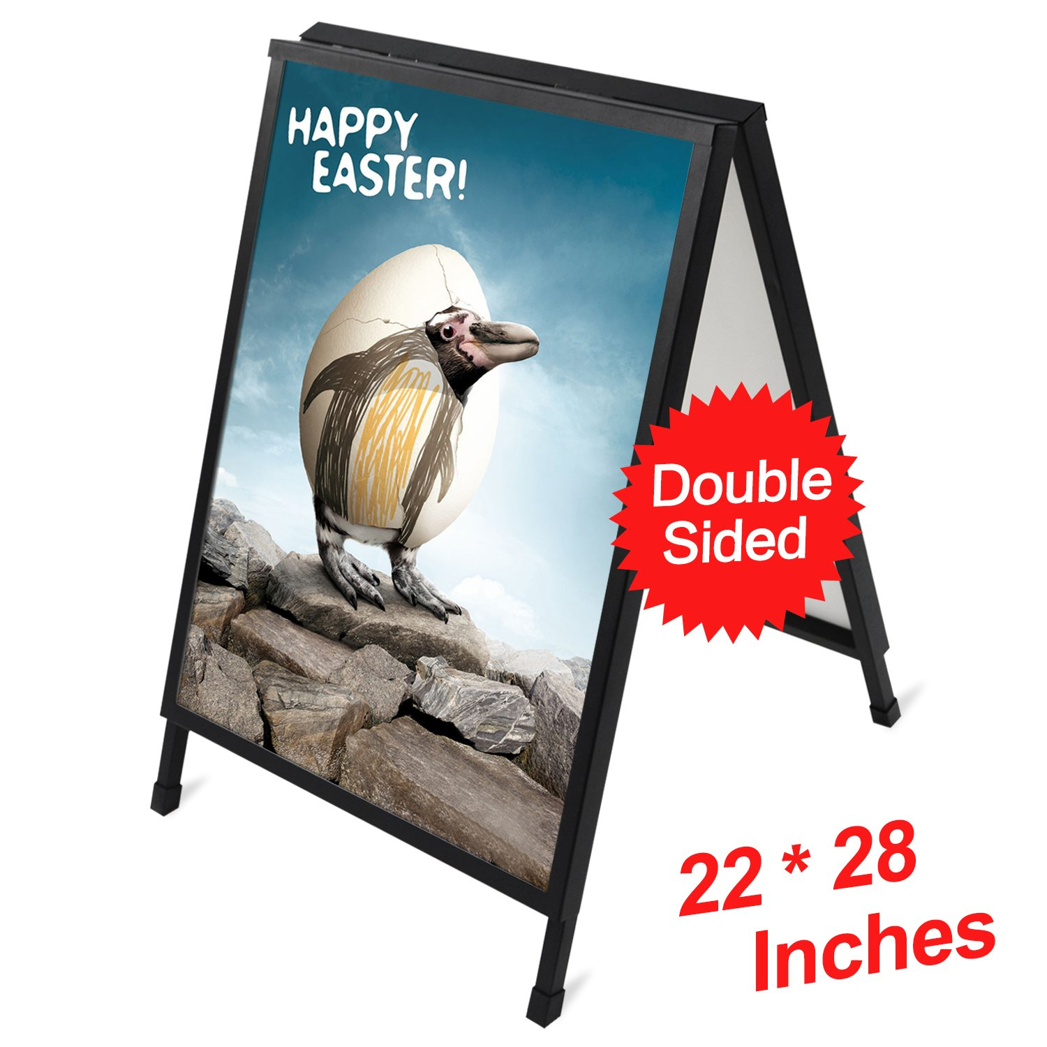 T-SIGN 22 x 28 Inch Slide-in Folding A-Frame Sidewalk Curb Sign Double-Sided Display, Black Coated Steel Metal, 2 Corrugated Plastic Poster Boards by T-SIGN