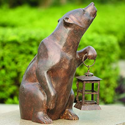 SPI Home 32435 Bear with Lantern Sculpture : Outdoor Statues : Garden & Outdoor