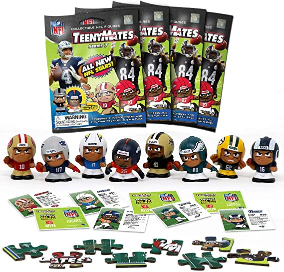 TeenyMates Party Animal 2018-19 NFL Series 7 Mini Figures Blind Bags Gift Set Party Bundle - 4 Pack
