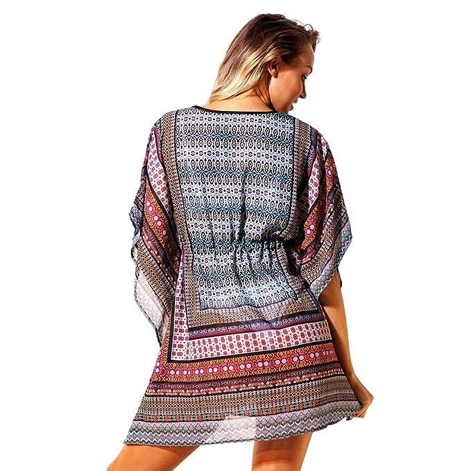 62e88e7807969 BAOBAO Womens Plus Size Swimwear High Waisted Loose Bohemian Print Summer  Beach Dress Swimsuit Cover-up For Women at Amazon Women's Clothing store: