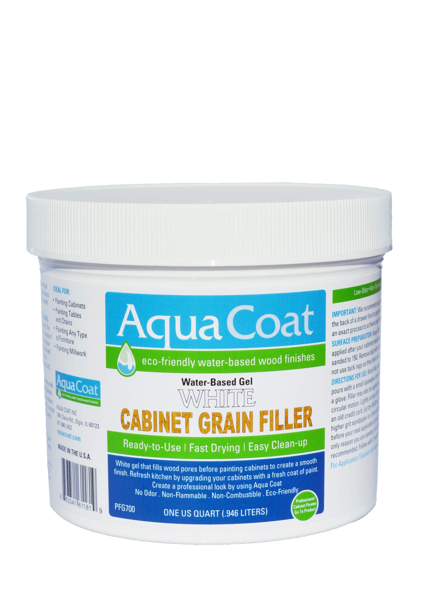 Aqua Coat,Best White Cabinet Wood Grain Filler, White Gel, Water Based, Low Odor, Fast Drying, Non Toxic, Environmentally Safe. Quart. by Aqua Coat Inc. (Image #1)