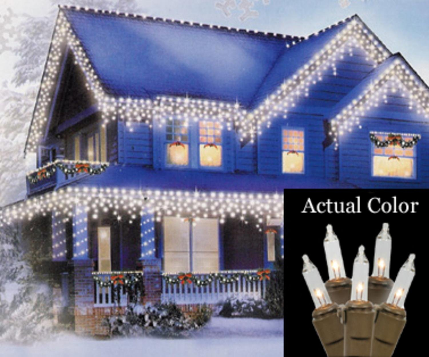 Amazon vickerman set of 100 clear mini icicle christmas lights amazon vickerman set of 100 clear mini icicle christmas lights brown wire home kitchen aloadofball