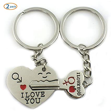 5c804615af Amazon.com: World Pride Key to My Heart Cute Couple Keychain Love Keychain  Key Ring - 2 Pack: Automotive