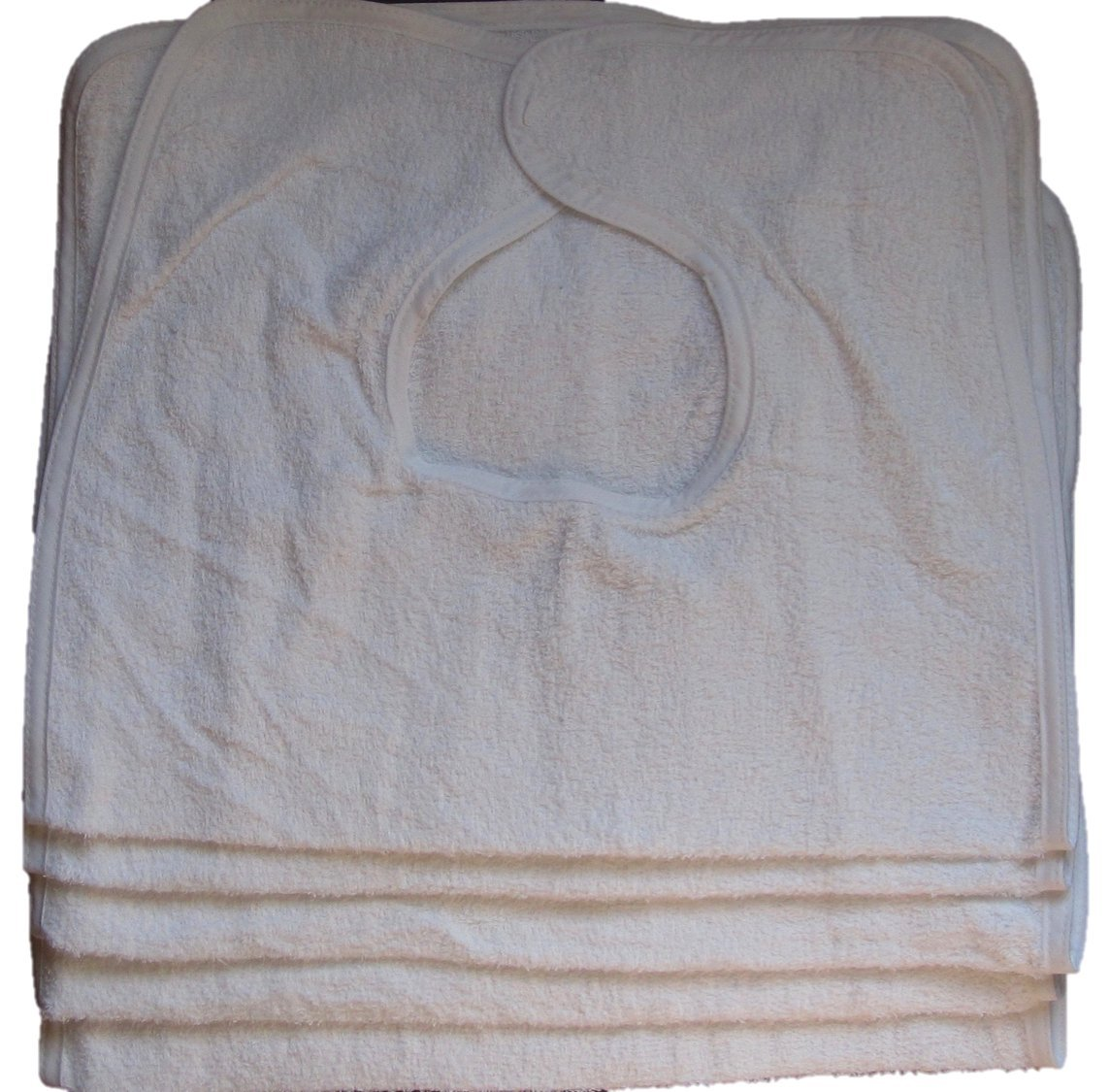 Adult Terry Cloth Bibs with Velcro Closure (5 - Pack) 100% Cotton (White) 18'' x 30''