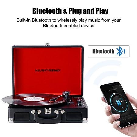 MUSITREND Bluetooth Tocadiscos Reproductor de Vinilo 33/45 ...