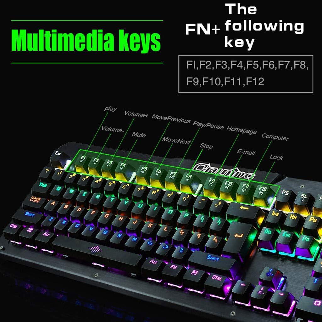 Mechanical Keyboard RGB Rainbow Backlight USB Ergonomic Gaming Gamer