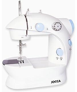 Jocca Máquina de Coser eléctrica compacta con Doble Costura, 4 bobinas y Aguja, Blanco