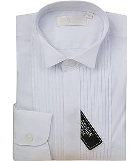 721e905f3f1aa Boys Sebastian Le Blanc Formal Pleated Kids White Wing Collar Wedding  Tuxedo Pintuck Shirt, 1…