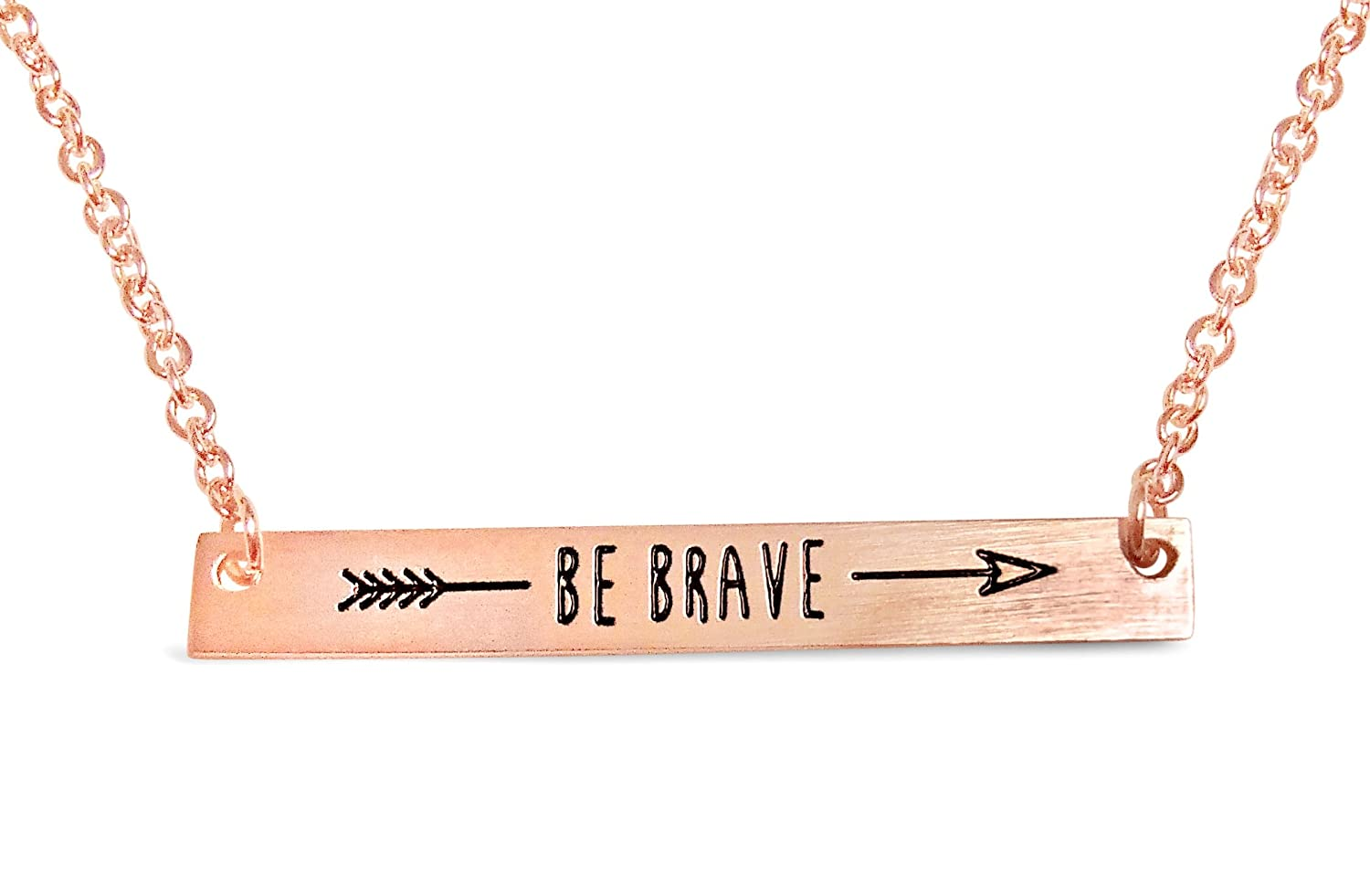 """Rosa Vila Be Brave Arrow Necklace for Women, Reminder to Live Boldly, Minimalist Blank Bar Necklace, Encouraging Jewelry, Two Necklaces in One, 17"""" Chain"""