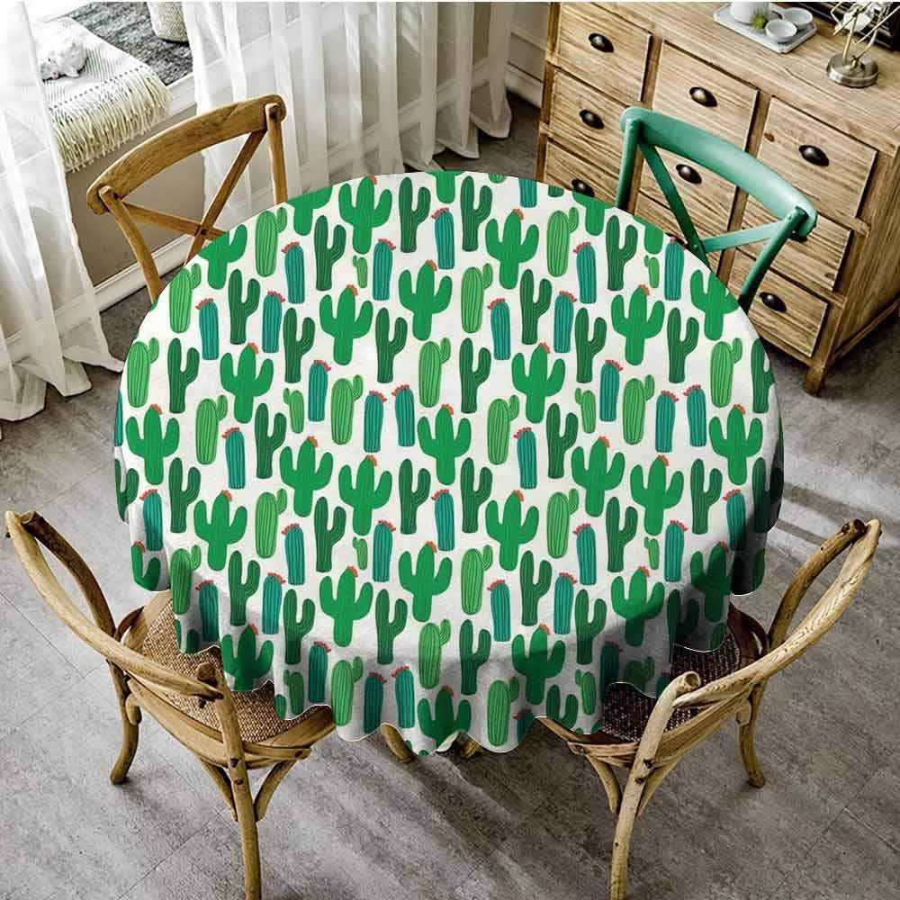 ScottDecor Exotic Dinning Tabletop Decoration San Pedro Cactus Foliage Climate Desert Flourishing Mexican Plants Garden Round Tablecloth Forest Green Red Diameter 60""
