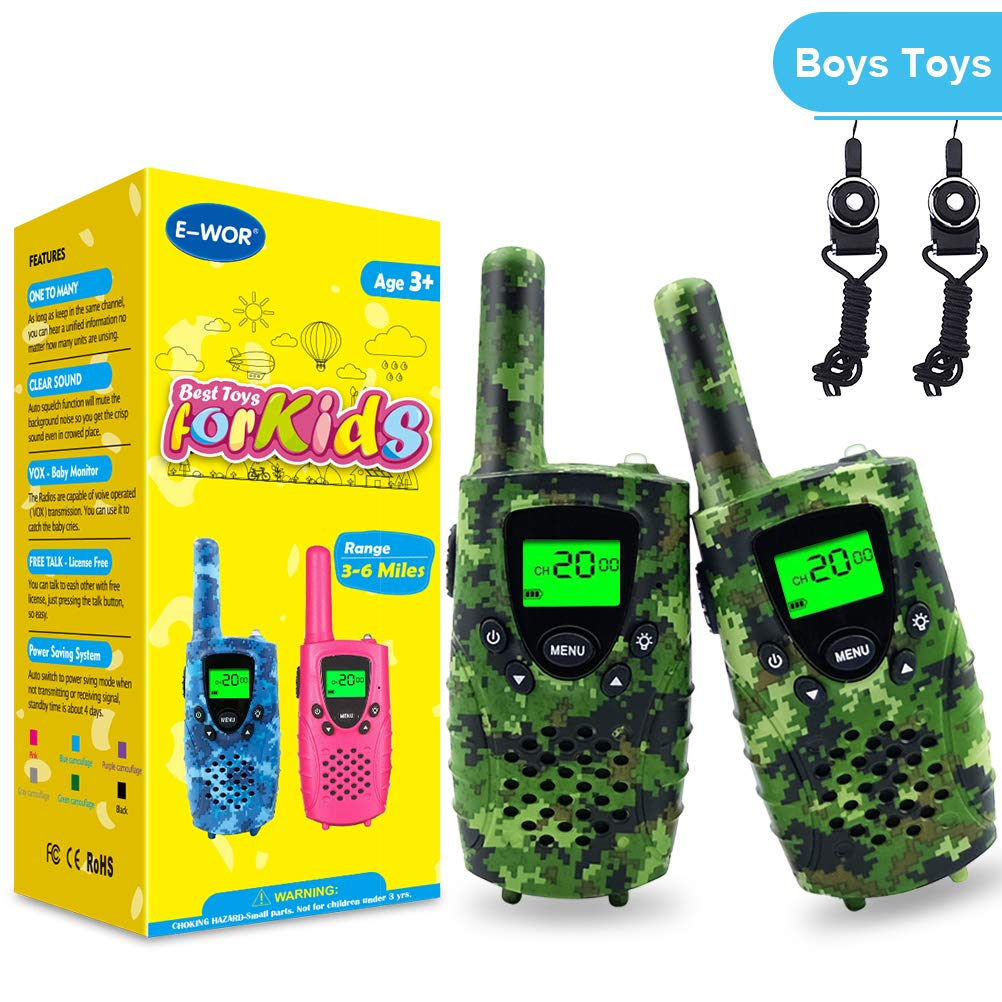 Walkie Talkies for Kids,22 Channels FRS/GMRS UHF Kids Walkie Talkies, 2 Way Radios 4 Miles Walkie Talkies Kids Toys with Flashlight by EWOR, 1 Pair,Camo (Camo Green)