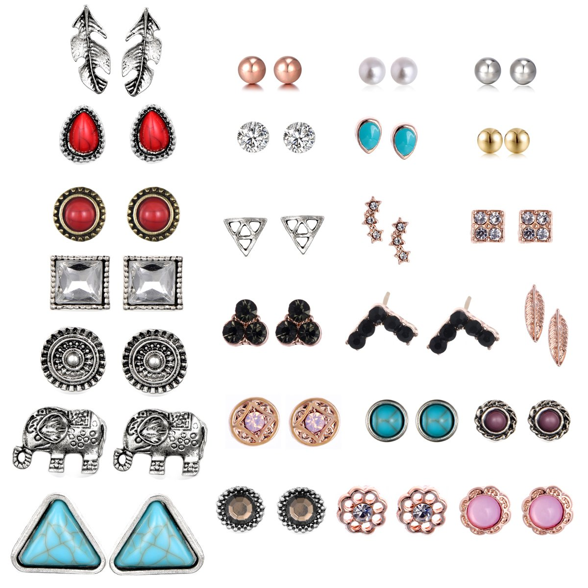 10Pairs/12Pairs Small Cute Simple Post Stud Earrings Gold Tone Set (Mix-25 pairs)