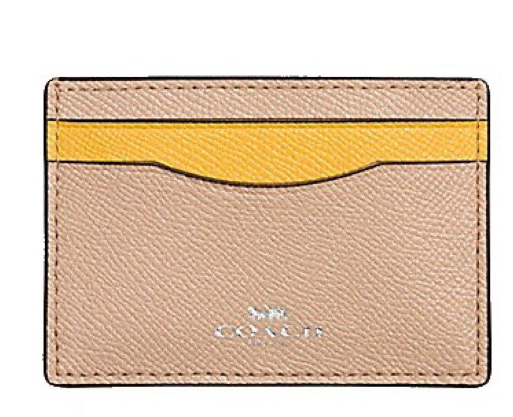 Coach Colorblock Crossgrain Leather Card Case F86927 Beechwood Banana