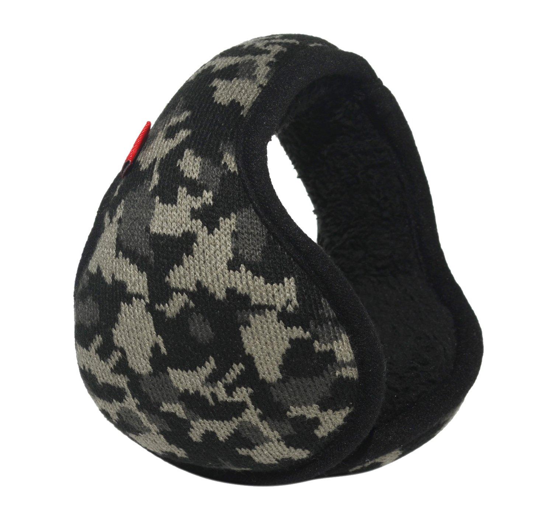 Mraw Woolen Yarn Black Camouflage Pattern Foldable/Adjustable Wrap around Earmuffs