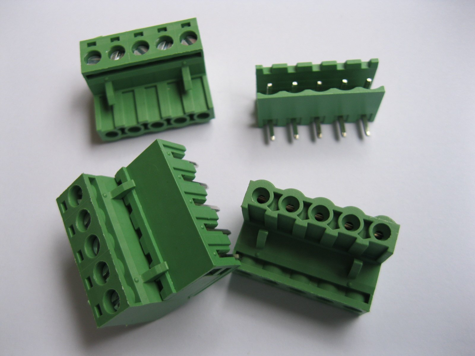 12 Pcs Pitch 5.08mm Angle 5 way/pin Screw Terminal Block Connector w/ Angle-pin Green Color Pluggable Type Skywalking