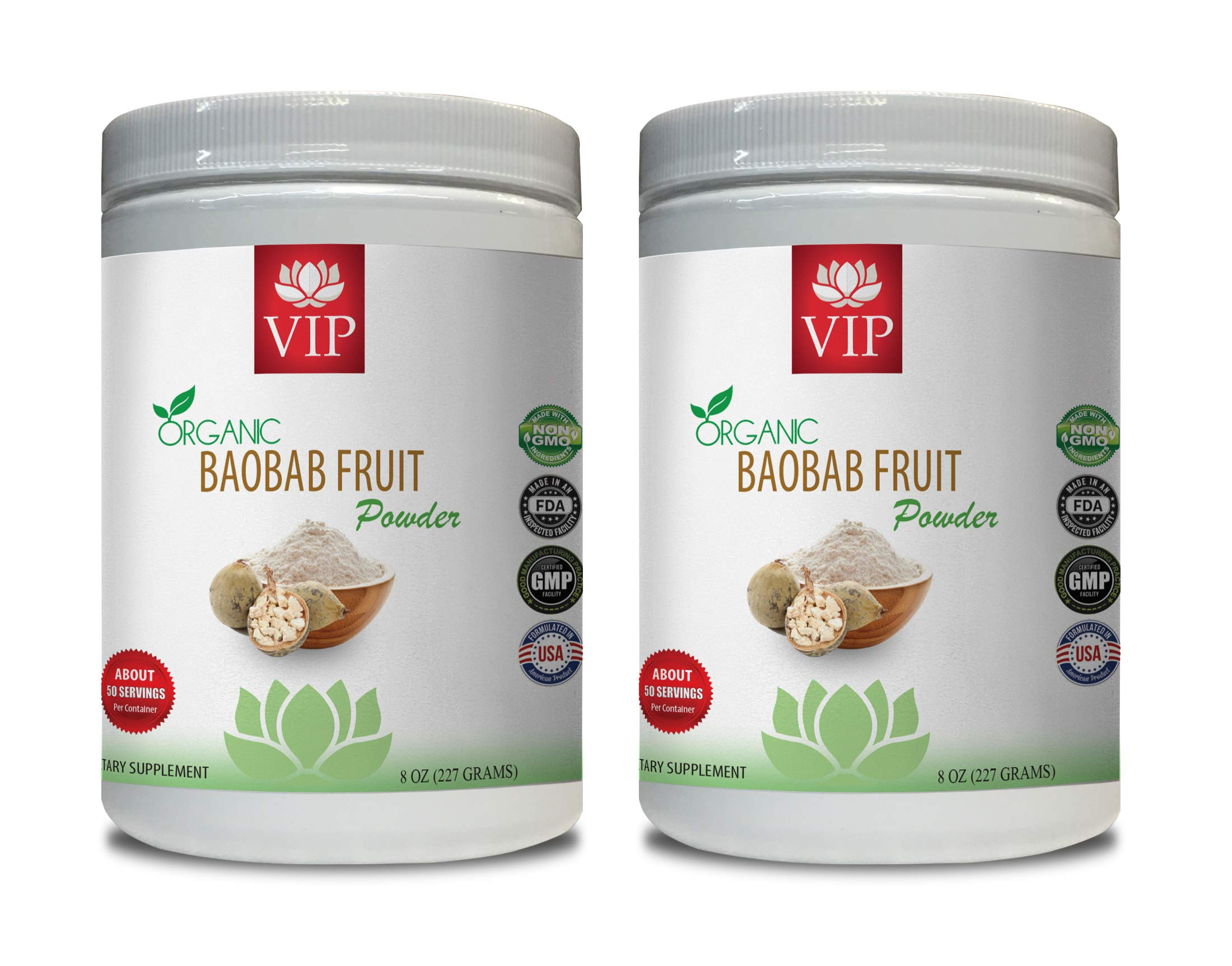 antioxidant Organic - Baobab Fruit Organic Powder - Digestive aid Powder - 2 Cans 16 OZ (100 Servings)