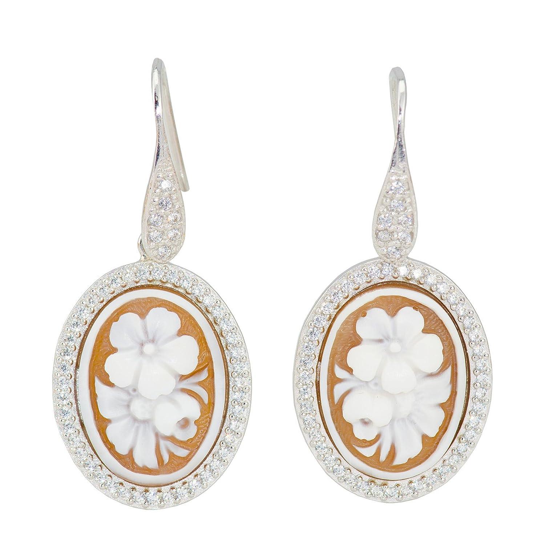 Floral Cameo Earrings - Floral Sardonyx Shell Cameo Earrings 20x25mm