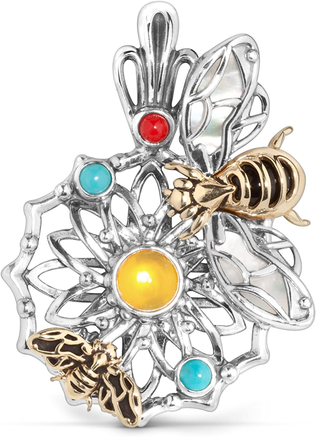 American West Fritz Casuse Sterling Silver Mixed Metal Pendant Enhancer