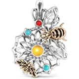 American West - Sterling Silver, Brass, Turquoise, Coral, Mother of Pearl, and Quartz Bumble Bee Pendant - Fritz Casuse Collection