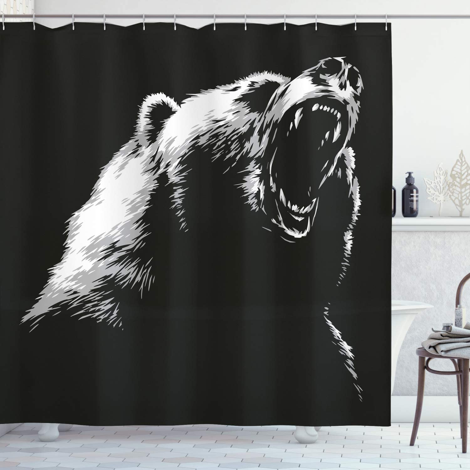 Ambesonne Bear Shower Curtain, Sketch Line Style Roaring Carnivore Fur and Fangs Aggressive Predator Fauna, Cloth Fabric Bathroom Decor Set with Hooks, 70
