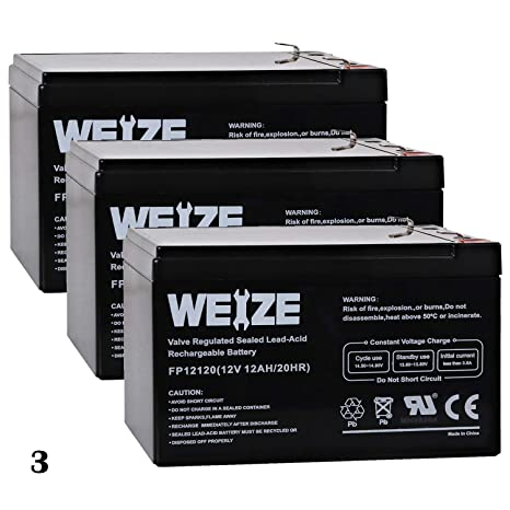Amazon.com: Weize 3 Pack 12 V 12 Ah SLA AGM Deep Cycle ...
