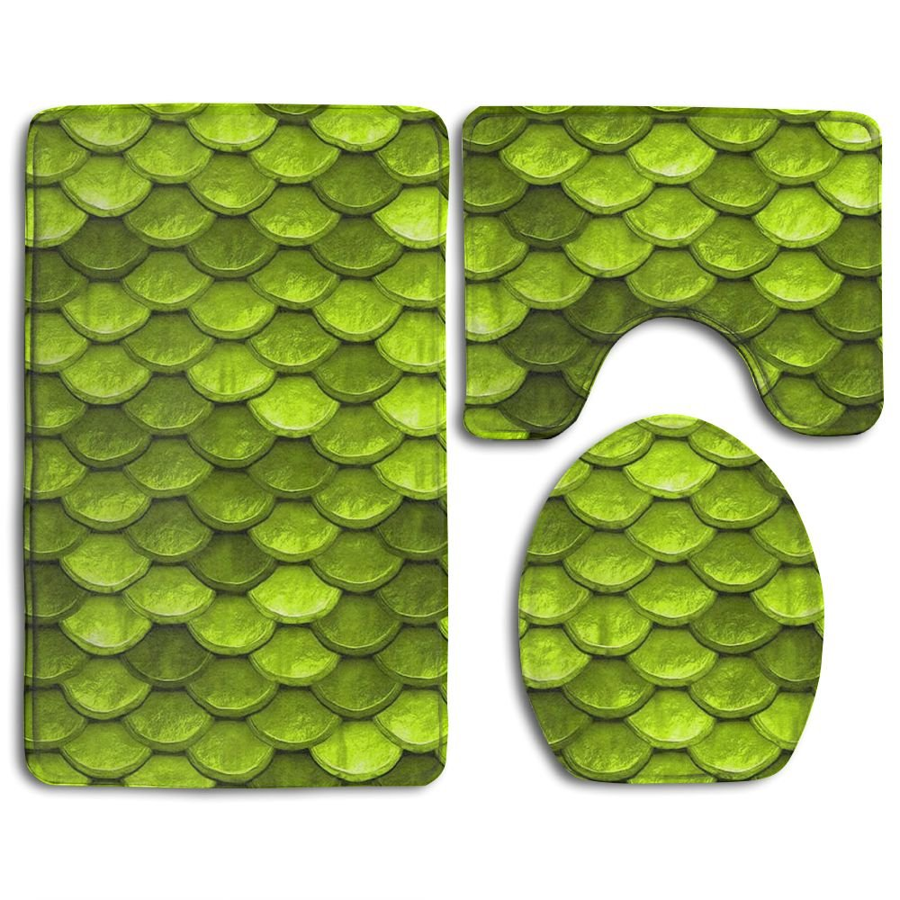 HOMESTORES 3 Piece Bathroom Rug Set - Beautiful Lime Green Mermaid Fish Scales Skidproof Toilet Bath Rug Mat U Shape Contour Lid Cover For Shower Spa