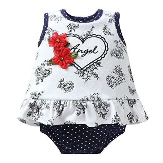 f1a2f7d5920 Amazon.com  Momsbabe Baby Girl Romper Dress Floral Print Ruffles ...