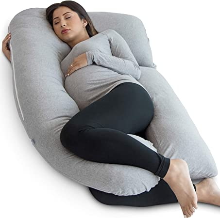 Pharmedoc Pregnancy Pillow (with Carrying Case) U Shape Full Body Pillow and Maternity Support with Detachable Extension Support for Back, Hips,