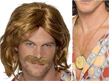 Brown 70/'s Super Trouper Wig /& Moustache Adult Mens Smiffys Fancy Dress Costume