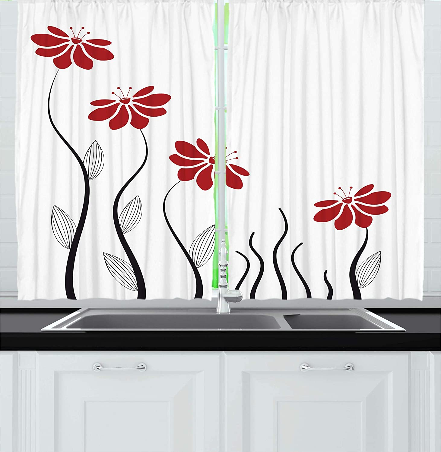 Ambesonne Flower Decor Kitchen Curtains, Floral Petals with Striped Leaves and Lines Modern Geometric Design Print, Window Drapes 2 Panels Set for Kitchen Cafe, 55 W X 39 L Inches, Red and Black