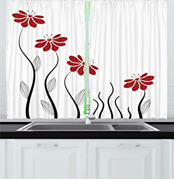 Ambesonne Flower Kitchen Curtains Floral Petals With Striped Leaves And Lines Modern Style Geometrical Design Print Window Drapes 2 Panel Set For