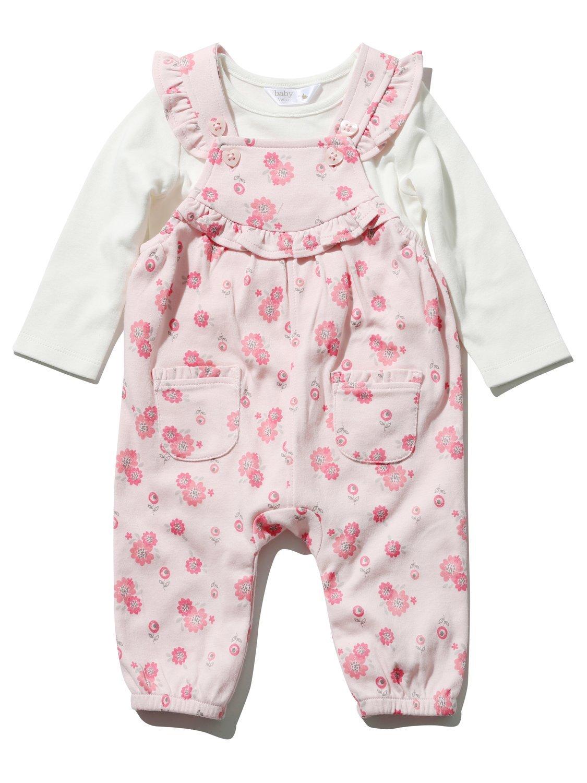 M&Co Newborn Baby Girl Sleeveless Frill Floral Print Pink Dungarees Plain Long Sleeve Top Set