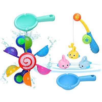 BBLIKE 7PCS Baby Bath Toys, 1 x Waterwheel+2 x Spoon Toy+1 x Fishing Rod+3 x Fish Toy for Baby Boys Girls 1-3 Years Old: Toys & Games