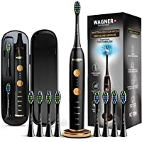 WAGNER Switzerland WHITEN+ EDITION. Smart electric toothbrush with PRESSURE SENSOR. 5 Brushing Modes and 3 INTENSITY Levels, 8 DuPont Bristles, Premium Travel Case, USB Wireless charging.