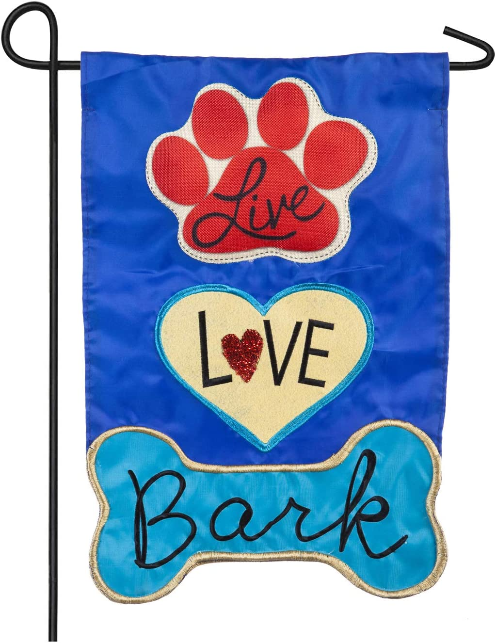 Evergreen Applique Garden Flag - Live Love Bark