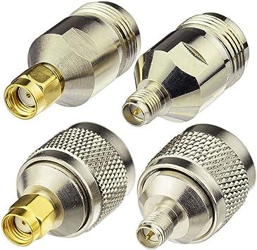 Eightwood Adaptador para Antena de N a Kit de Adaptador RP-SMA 4 Tipo para enrutador inalámbrico WiFi TP-Link Transmisor de AV Dlink Netgear Belkin