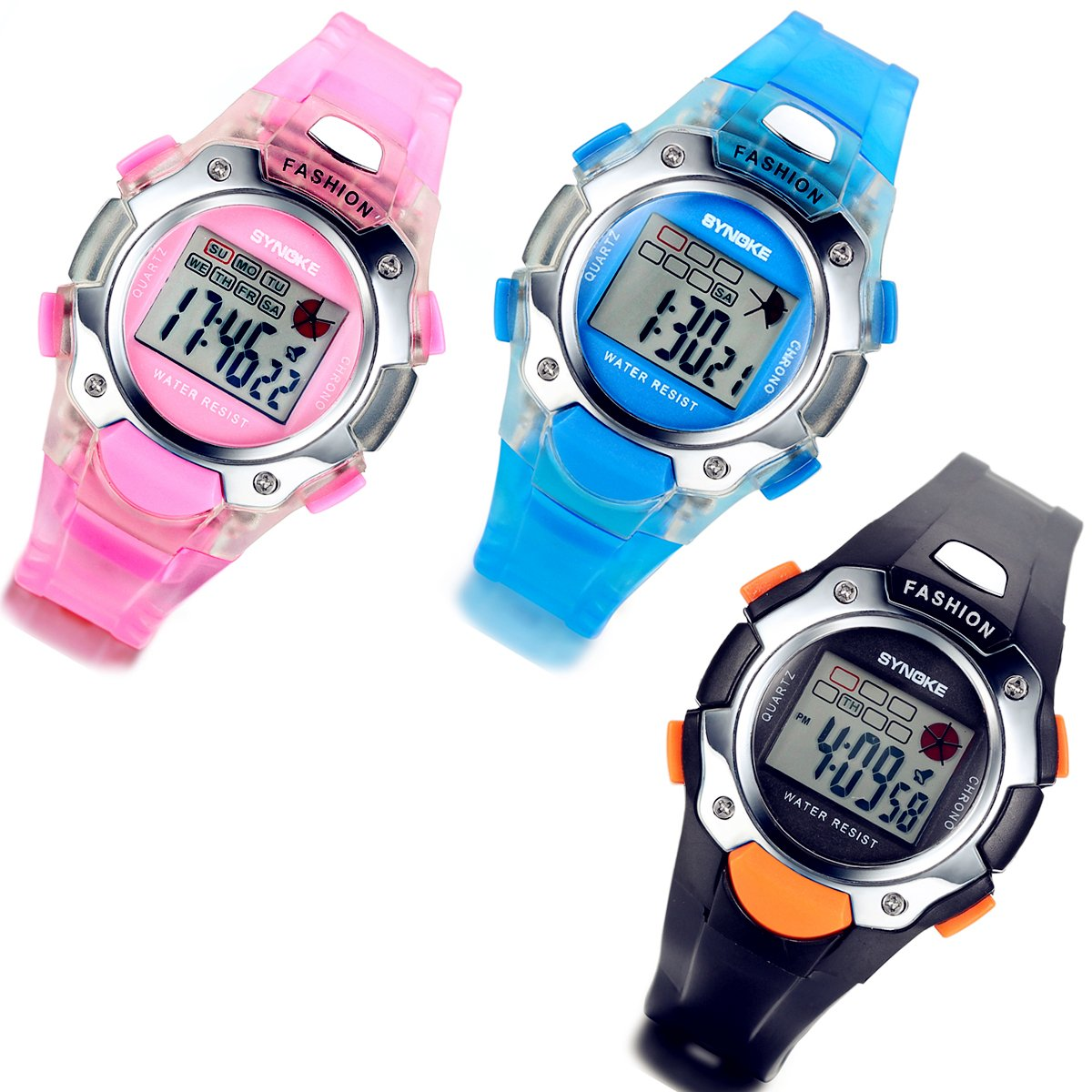 Lancardo 3 Pack Blue/Pink/Black Multifunction Digital Watches for Boys Girls Kids Christmas with Gift Bag by Lancardo